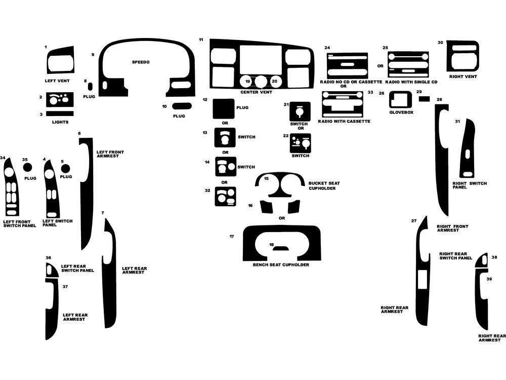 ford f-350 2006-2007 dash kit diagram