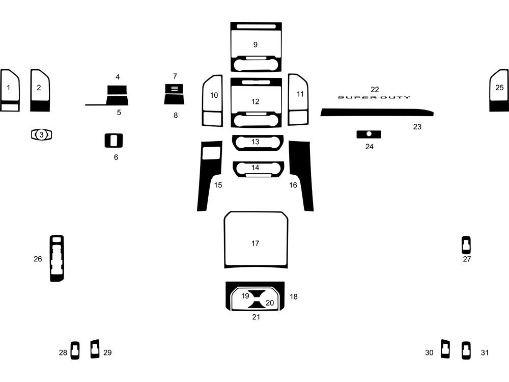 Rvinyl Rdash Dash Kit Decal Trim for Ford F-350 2006-2007 Brushed Black Aluminum