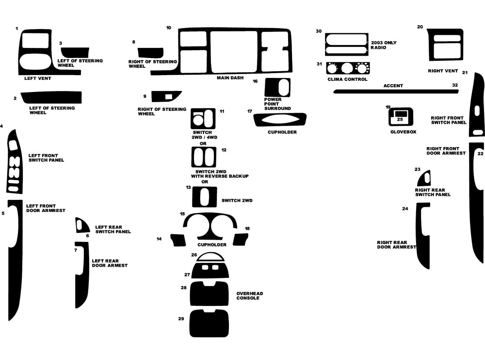 Ford F-350 King Ranch 2003-2004 Dash Kit Diagram
