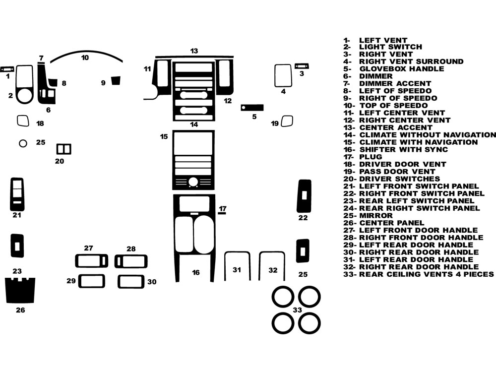 Ford Flex 2009-2012 Dash Kit Diagram
