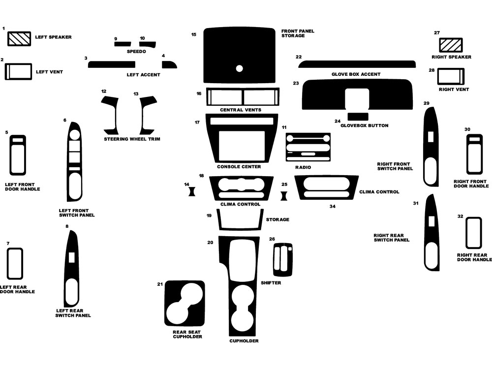 Ford Fusion 2006-2009 Dash Kit Diagram