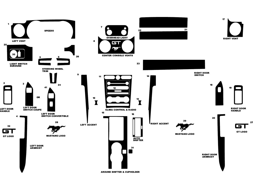 Ford Mustang 2005-2009 Dash Kit Diagram