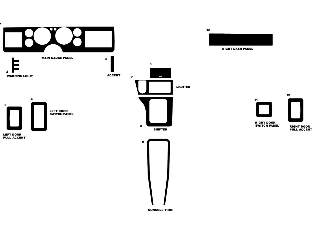 Ford Mustang 1984-1986 Dash Kit Diagram