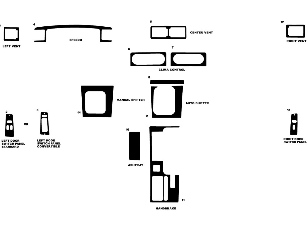 Ford Mustang 1987-1993 Dash Kit Diagram