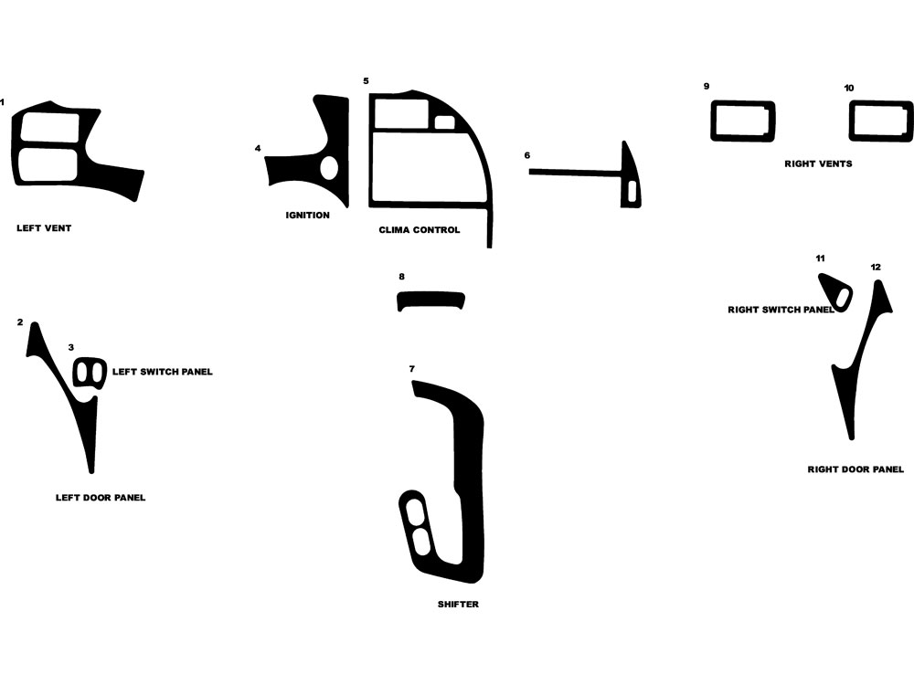Ford Thunderbird 1994-1996 Dash Kit Diagram
