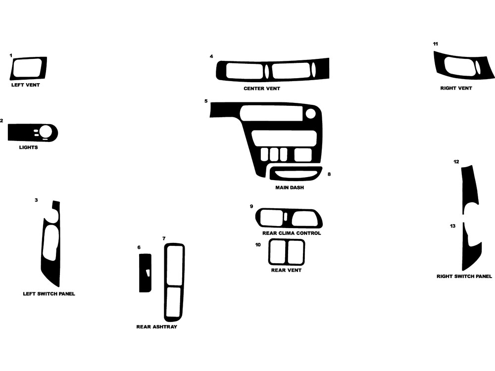 Ford Windstar 1995-1997 Dash Kit Diagram