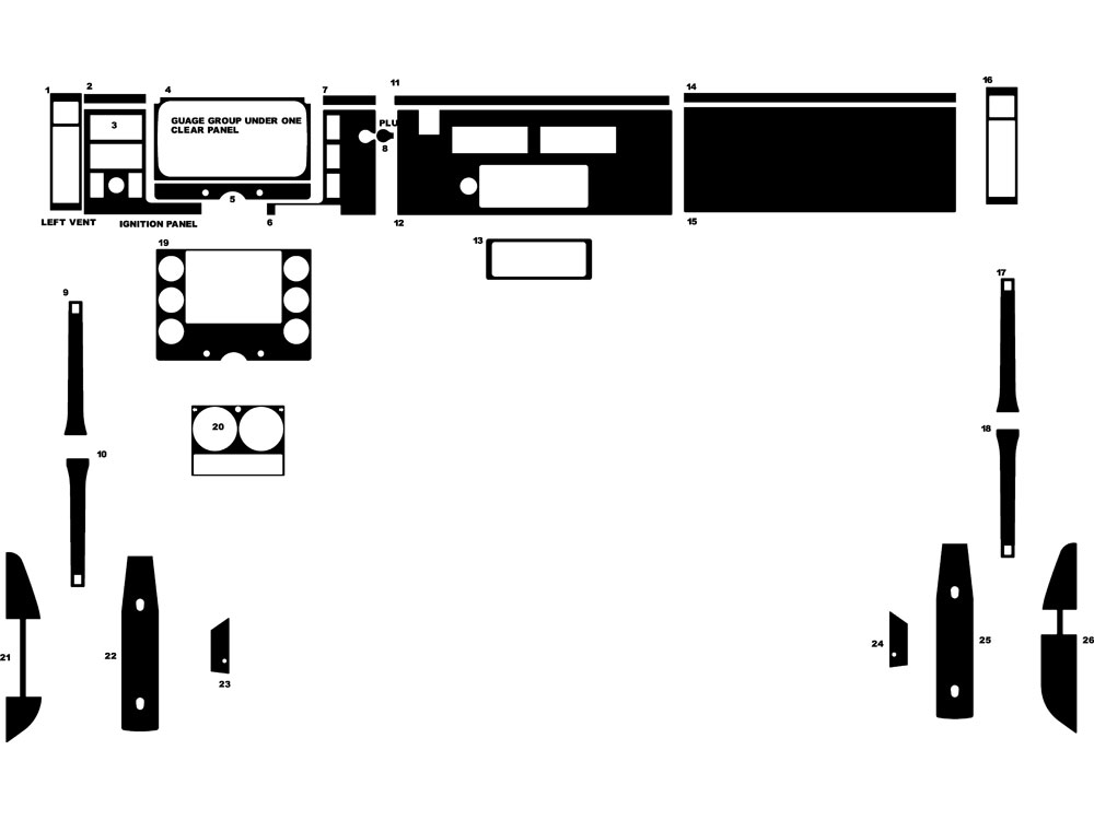 Freightliner FL Series 1997-2002 Dash Kit Diagram
