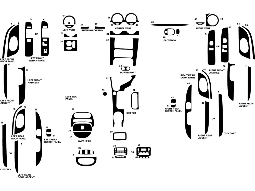 Isuzu Ascender 2006-2008 Dash Kit Diagram