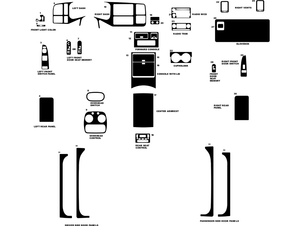 GMC Sierra Denali 2003-2006 Dash Kit Diagram