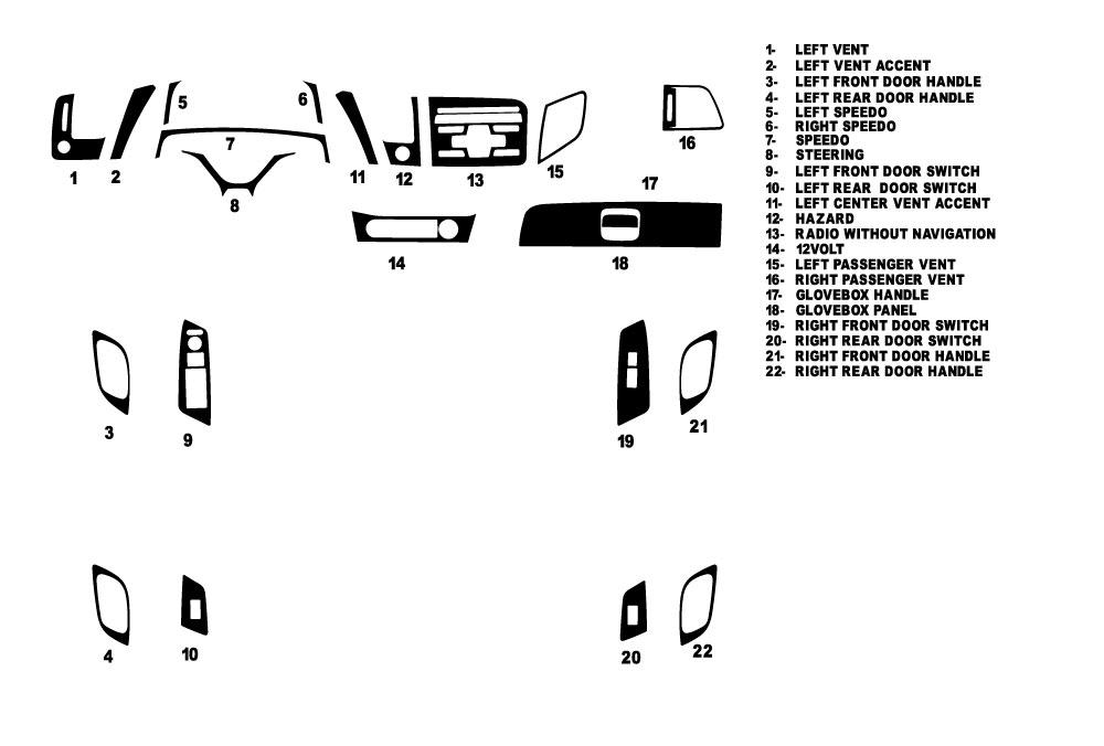 Honda Civic Sedan 2012-2012 Dash Kit Diagram