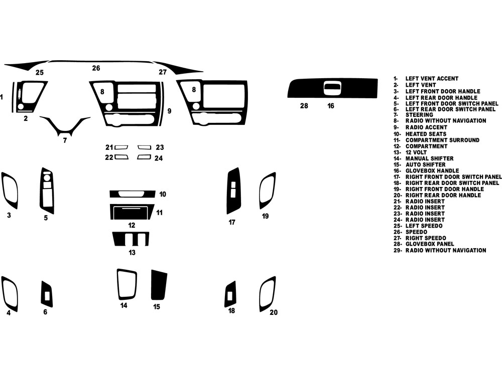 Honda Civic Sedan 2013-2015 Dash Kit Diagram