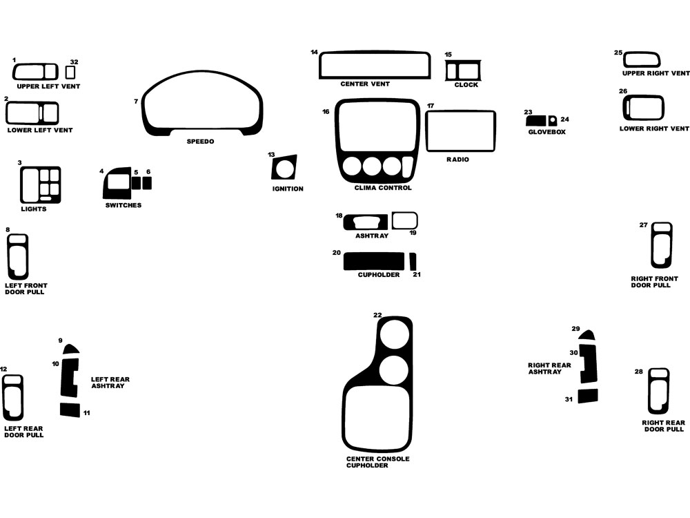 Honda CR-V 1997-2001 Dash Kit Diagram
