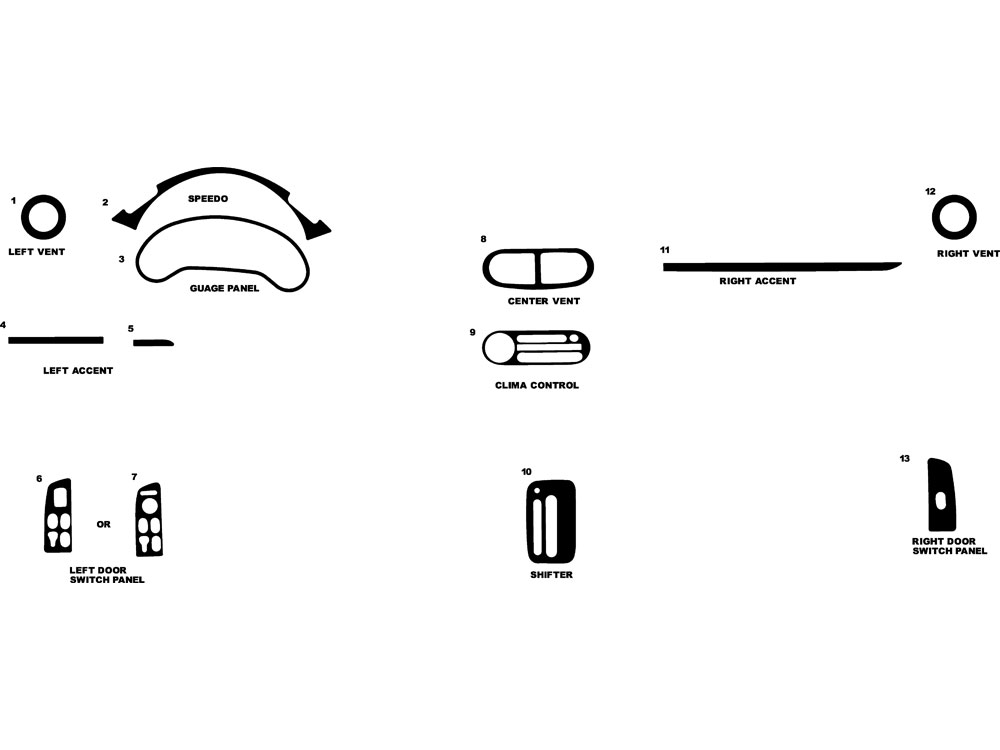 Honda Del Sol 1993-1997 Dash Kit Diagram