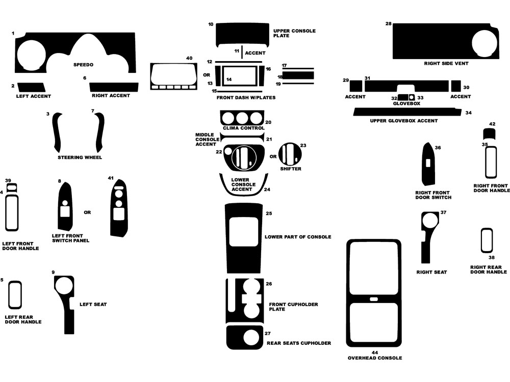 Honda Element 2003-2006 Dash Kit Diagram