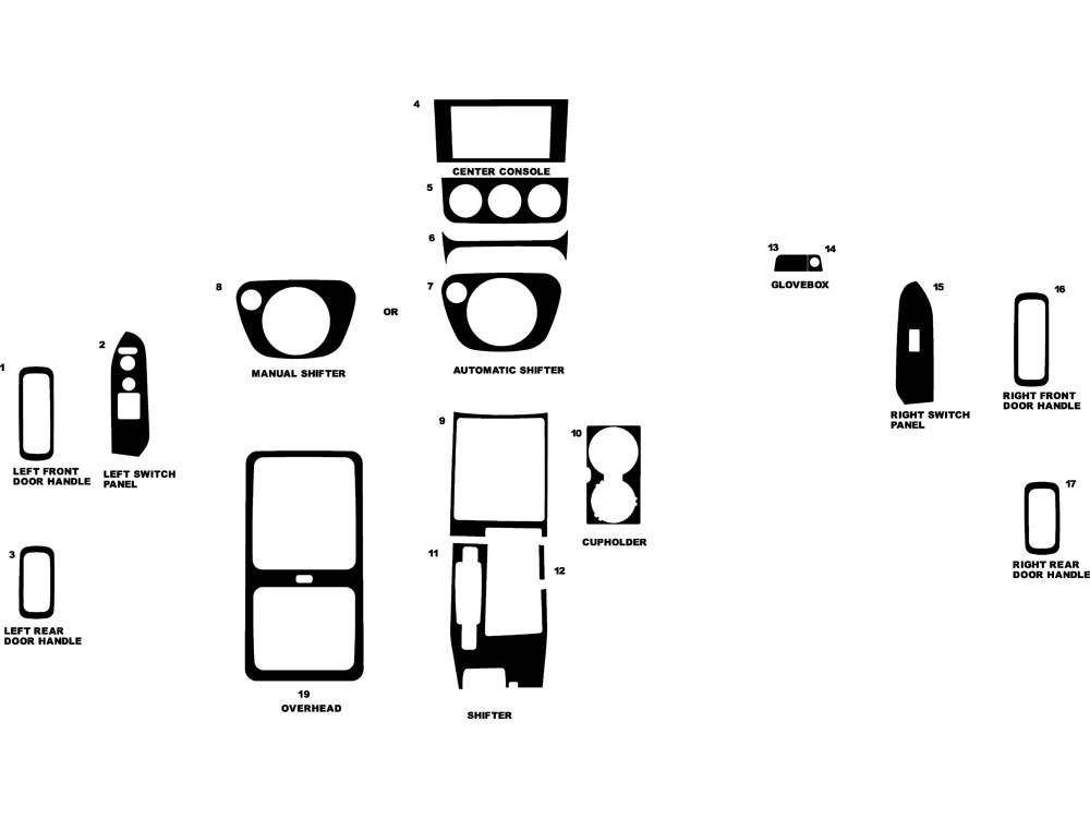 Honda Element 2007-2011 Dash Kit Diagram