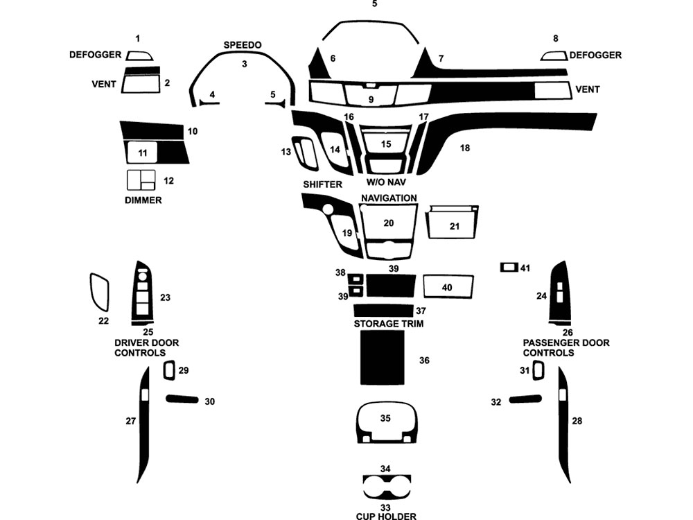 Honda Odyssey 2014-2017 Dash Kit Diagram
