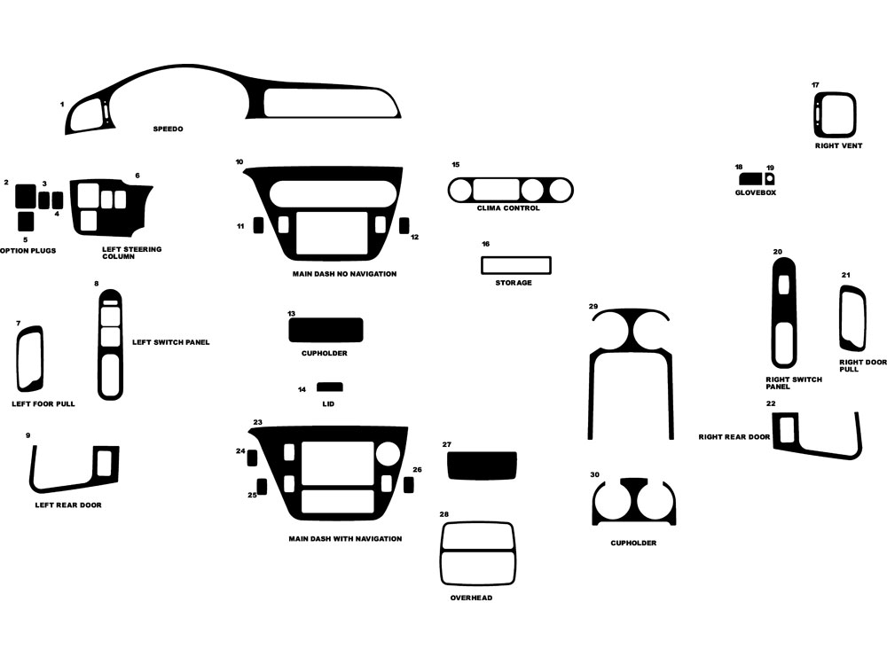 Honda Odyssey 1999-2004 Dash Kit Diagram
