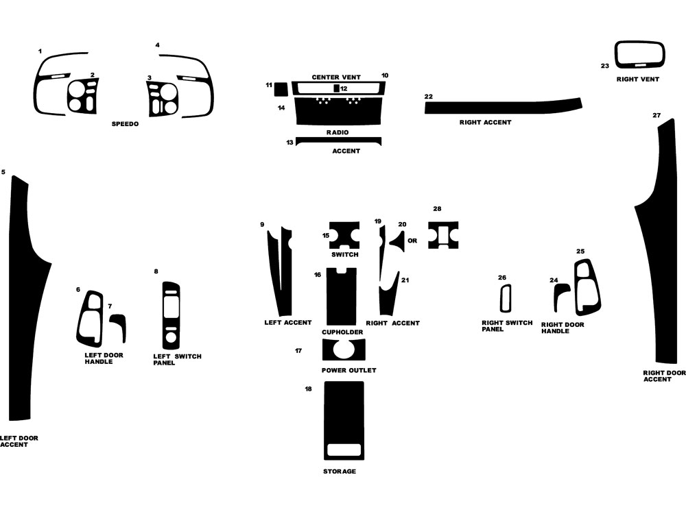 Honda S2000 2000-2009 Dash Kit Diagram