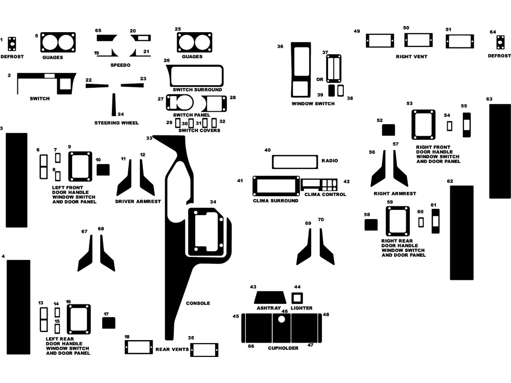 Hummer H1 1994-1995 Dash Kit Diagram