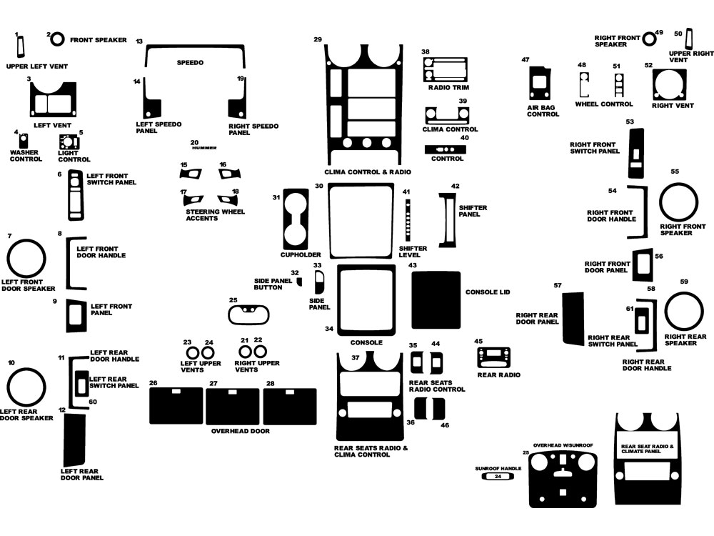 Hummer H2 2003-2007 Dash Kit Diagram