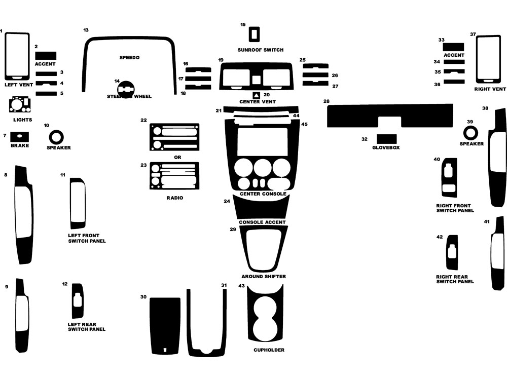 Hummer H3 2006-2010 Dash Kit Diagram