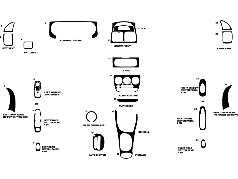 Hyundai Accent 2000-2002 Dash Kit Diagram