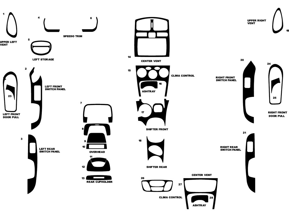 Hyundai Santa Fe 2002.5-2004 Dash Kit Diagram