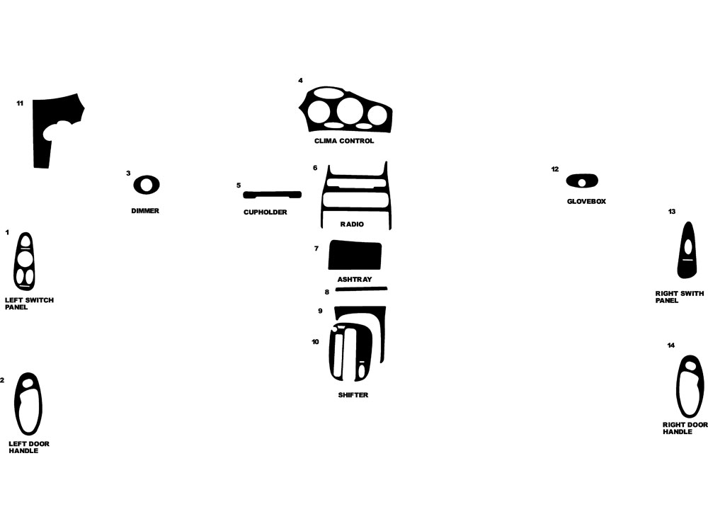 Hyundai Tiburon 1998-1999 Dash Kit Diagram