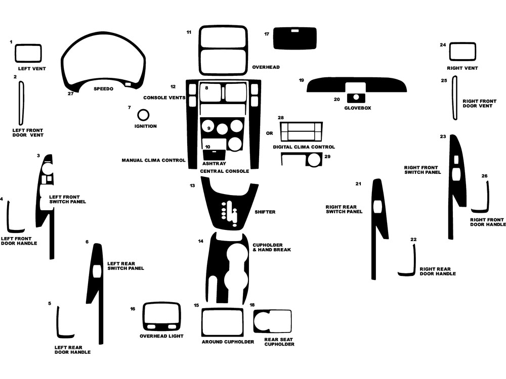 Hyundai Tucson 2005-2009 Dash Kit Diagram