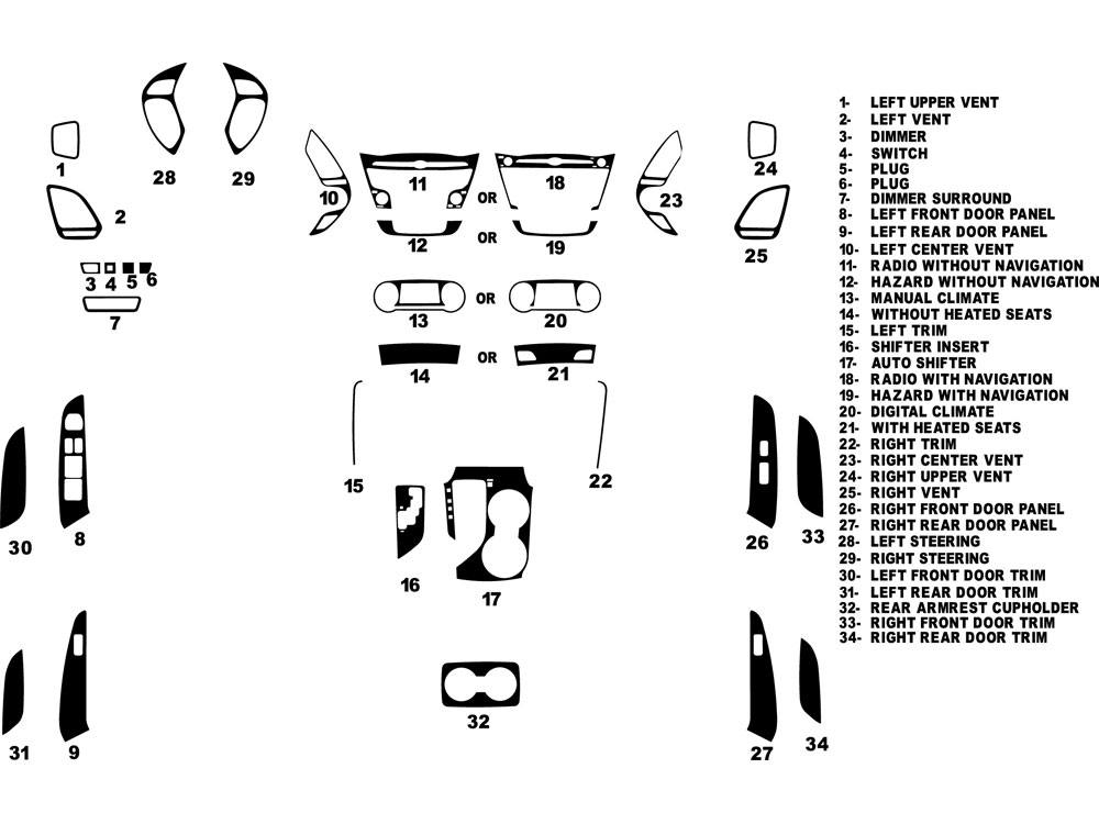Hyundai Tucson 2010-2013 Dash Kit Diagram