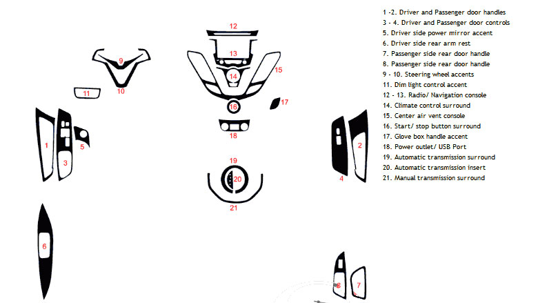 Hyundai Veloster 2012-2017 Dash Kit Diagram