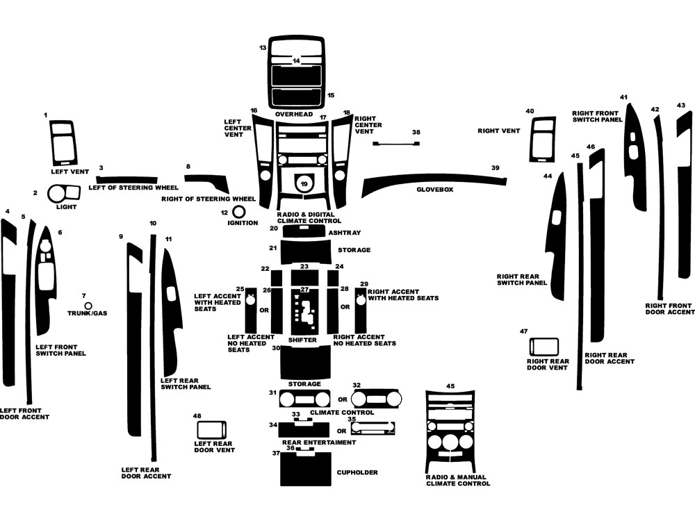 Hyundai Veracruz 2007-2013 Dash Kit Diagram