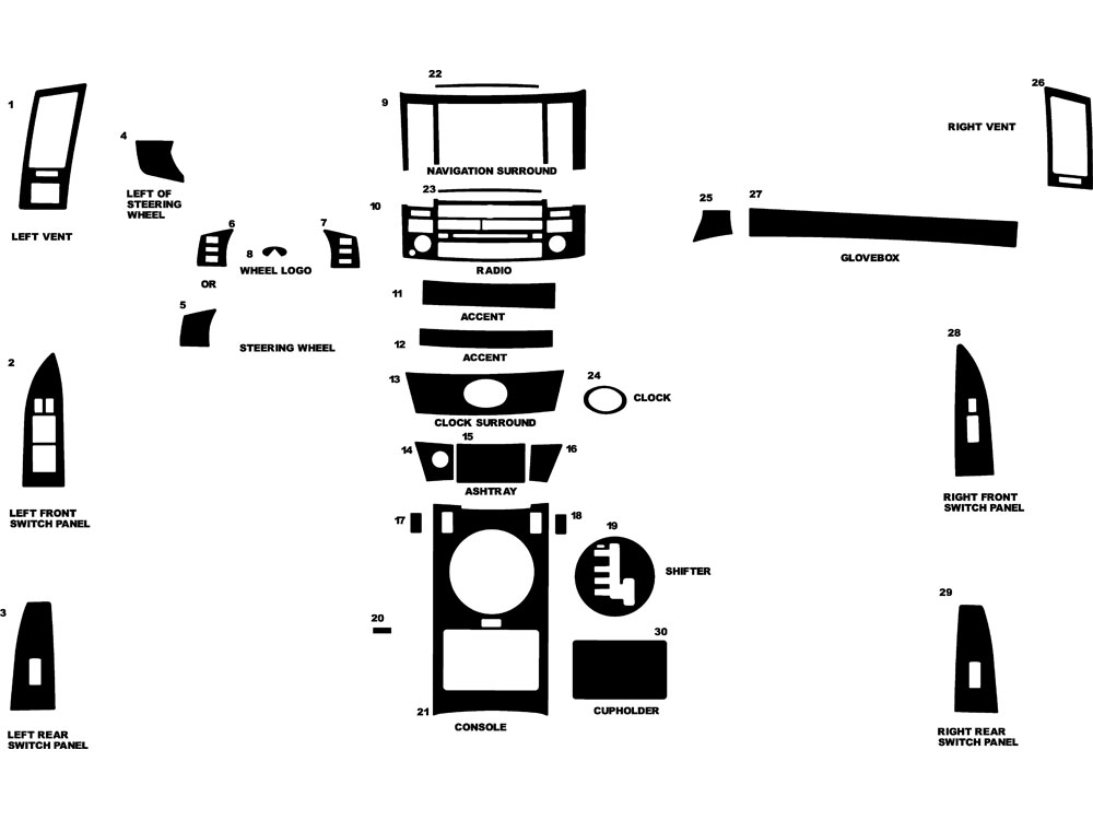 Infiniti FX45 2003-2005 Dash Kit Diagram