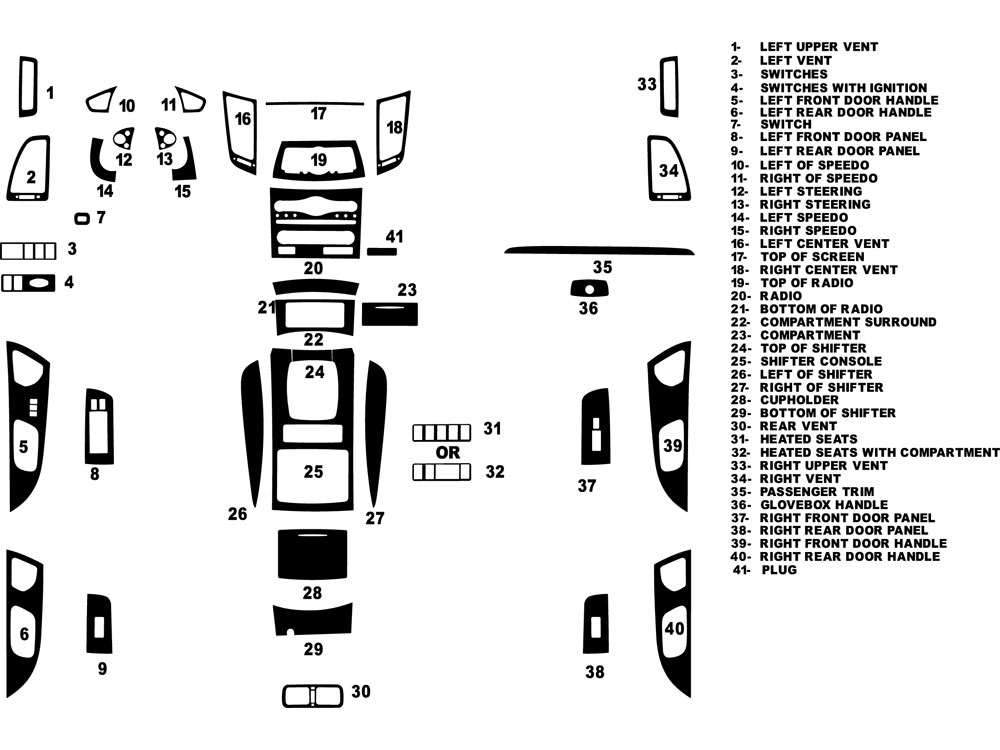 Infiniti FX35 2009-2013 Dash Kit Diagram