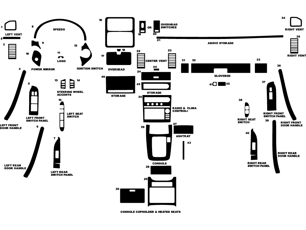 Infiniti G35 Sedan 2005-2006 Dash Kit Diagram