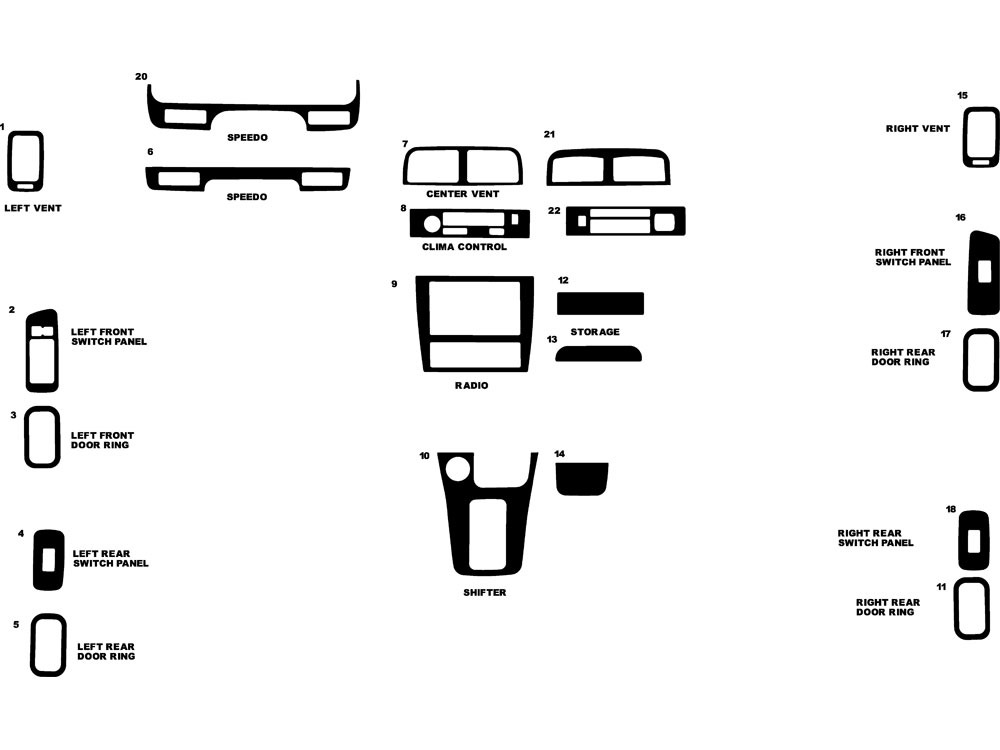 Nissan Maxima 1995-1999 Dash Kit Diagram