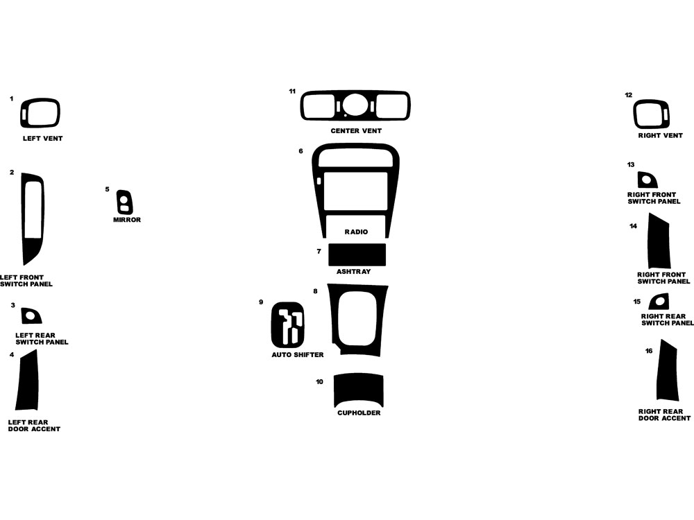 Infiniti J30 1993-1997 Dash Kit Diagram