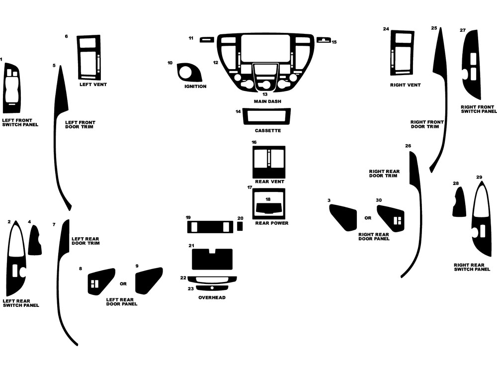 Infiniti Q45 2002-2004 Dash Kit Diagram