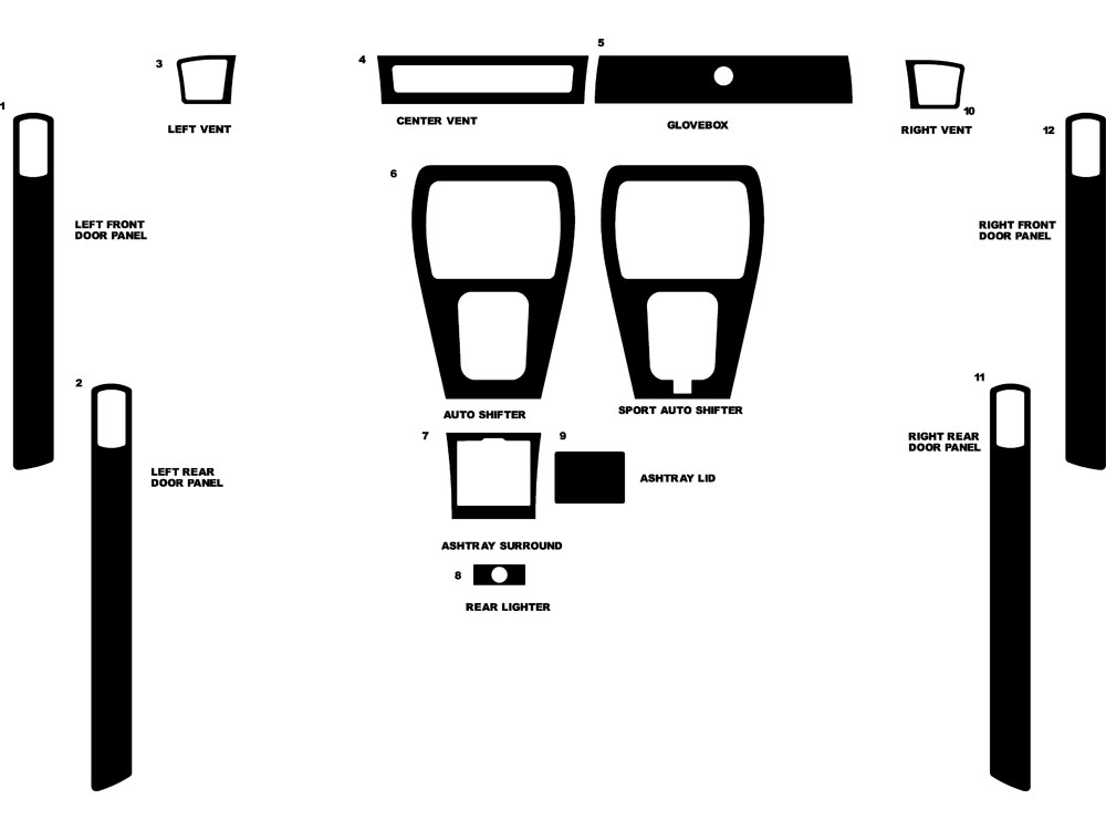 Jaguar XJ-Type 1987-1992 Dash Kit Diagram