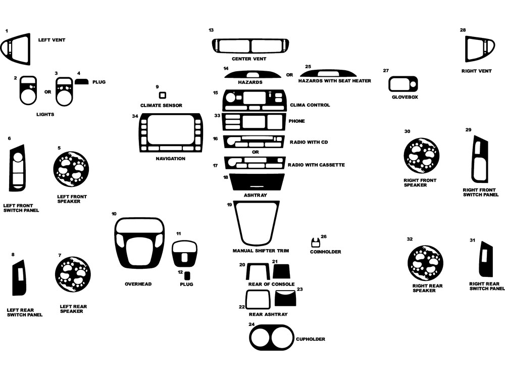 Jaguar X-Type 2002-2008 Dash Kit Diagram