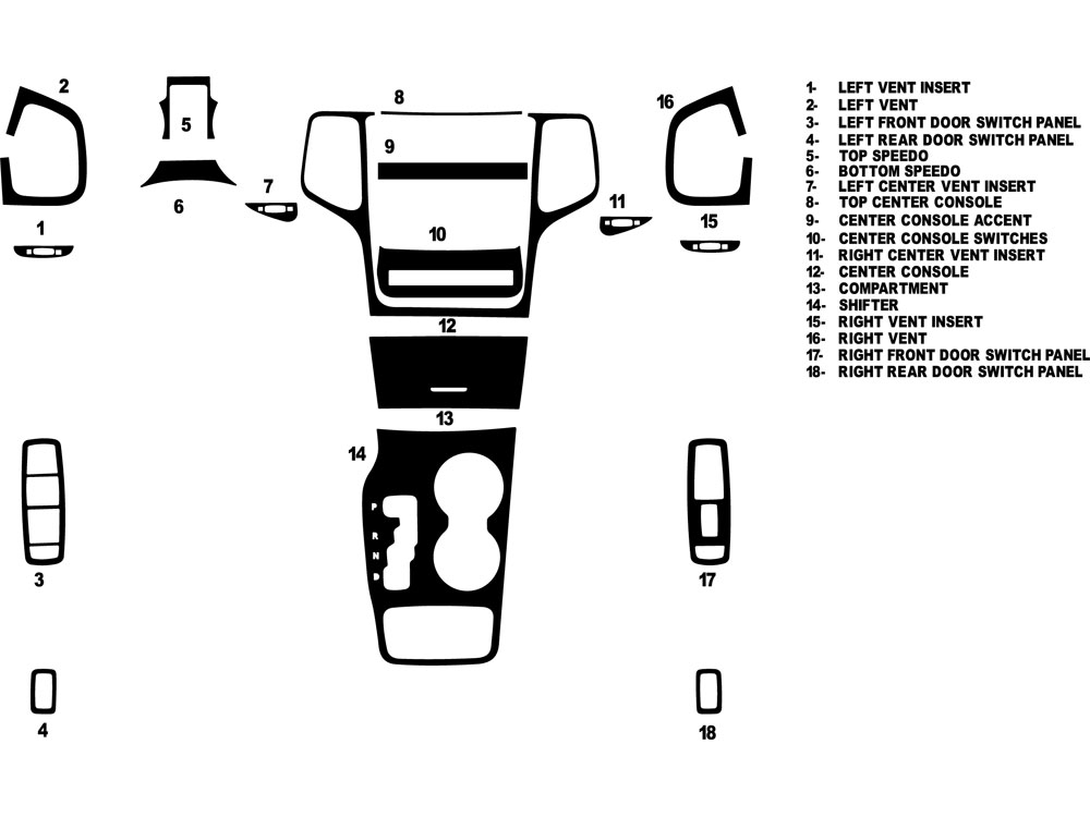 Jeep Grand Cherokee 2011-2013 Dash Kit Diagram