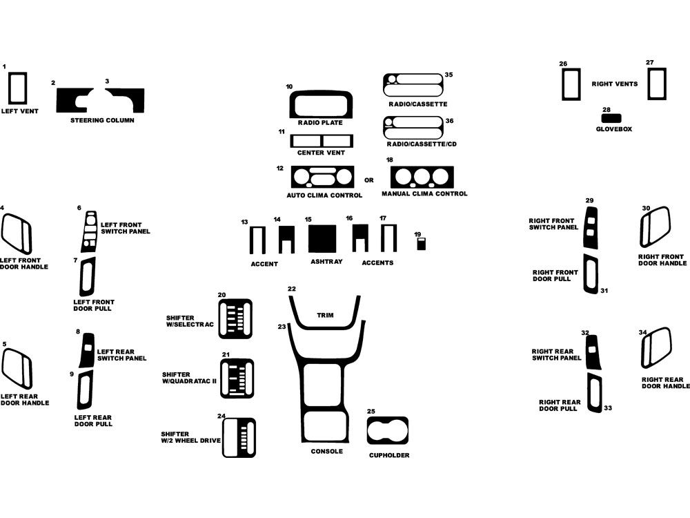 Jeep Grand Cherokee 2000-2002 Dash Kit Diagram