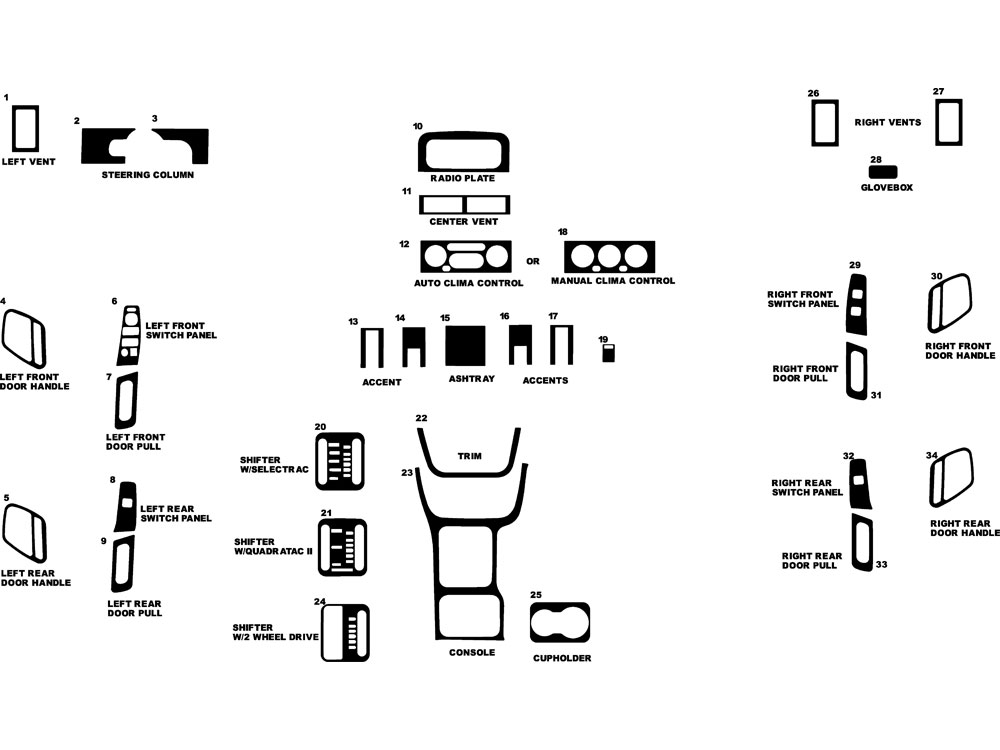 Jeep Grand Cherokee 1999-1999 Dash Kit Diagram