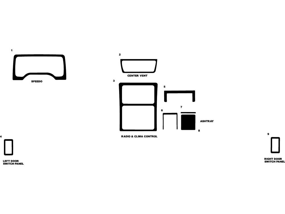 jeep wrangler 1997-2002 dash kit diagram