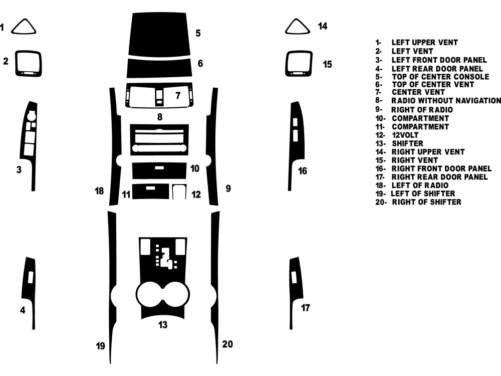 Kia Borrego 2009-2010 Dash Kit Diagram