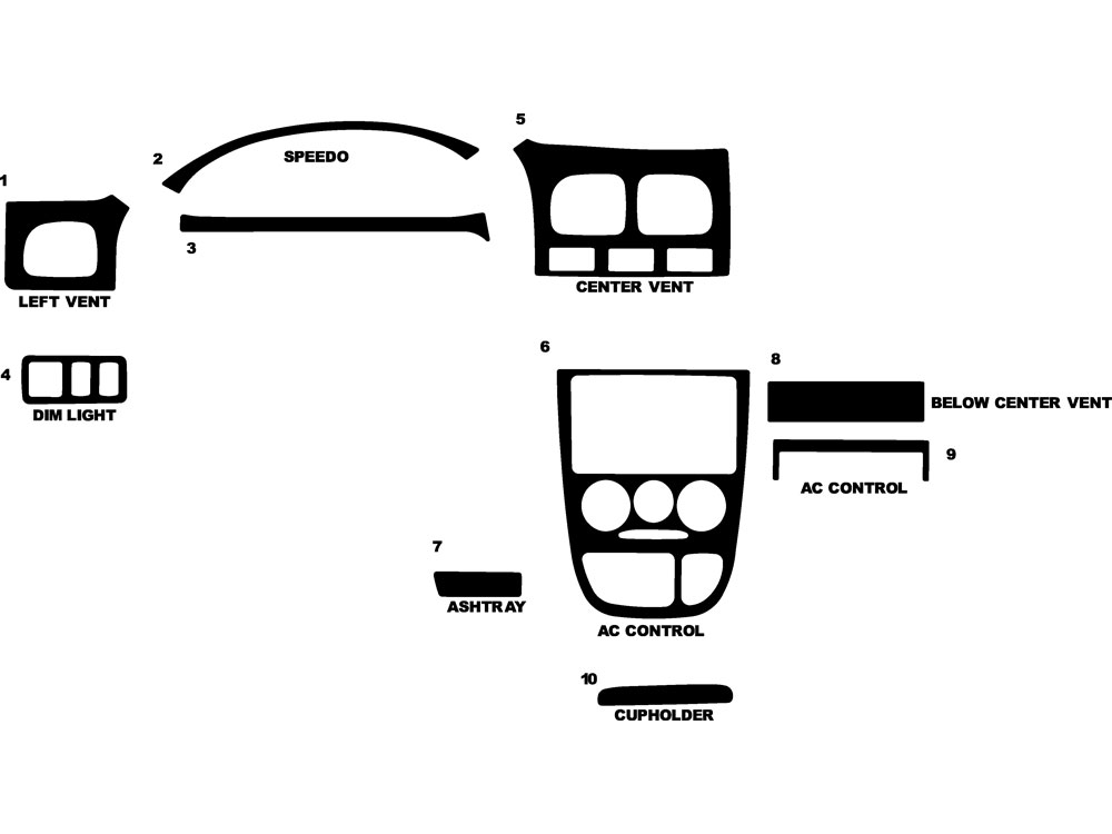 Kia Rio Cinco 2002 Dash Kit Diagram