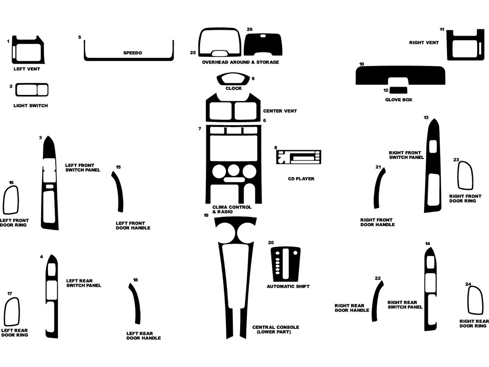 2003 Kia Rio Dash Kit Diagram