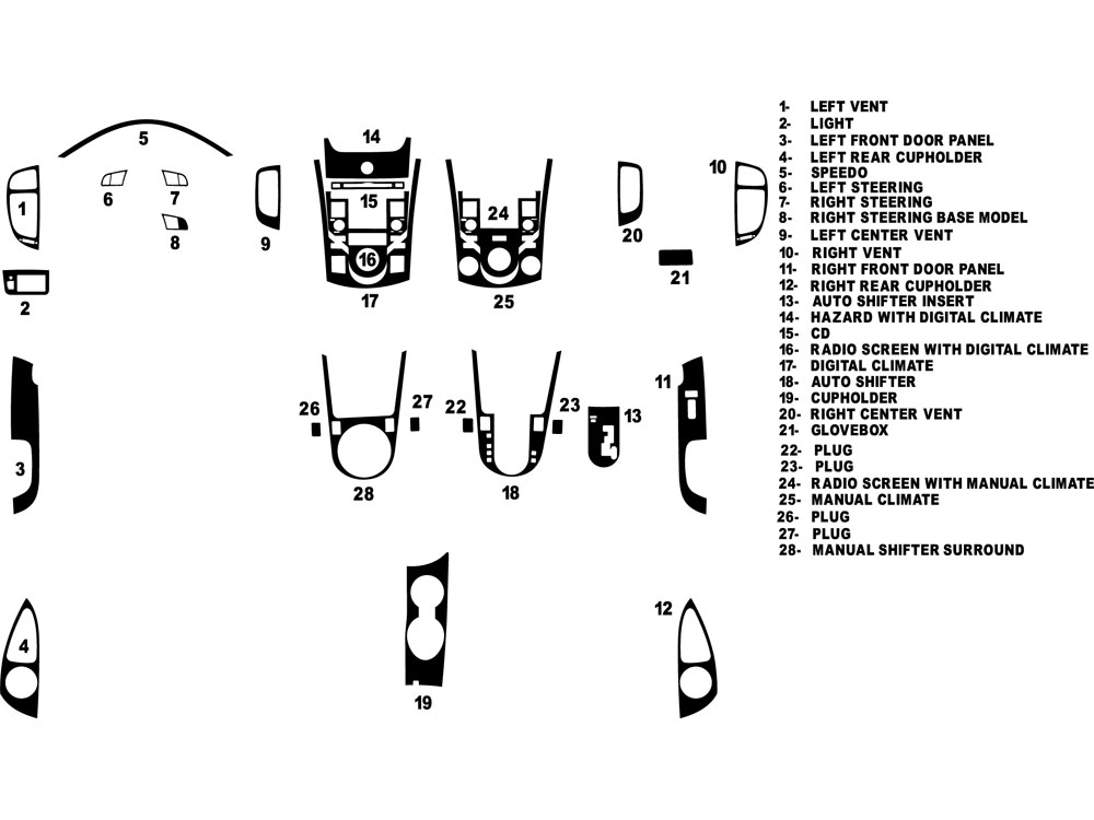 Kia Forte Koup 2010-2013 Dash Kit Diagram