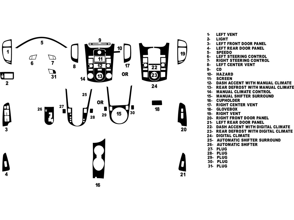 Kia Forte Sedan 2010-2013 Dash Kit Diagram
