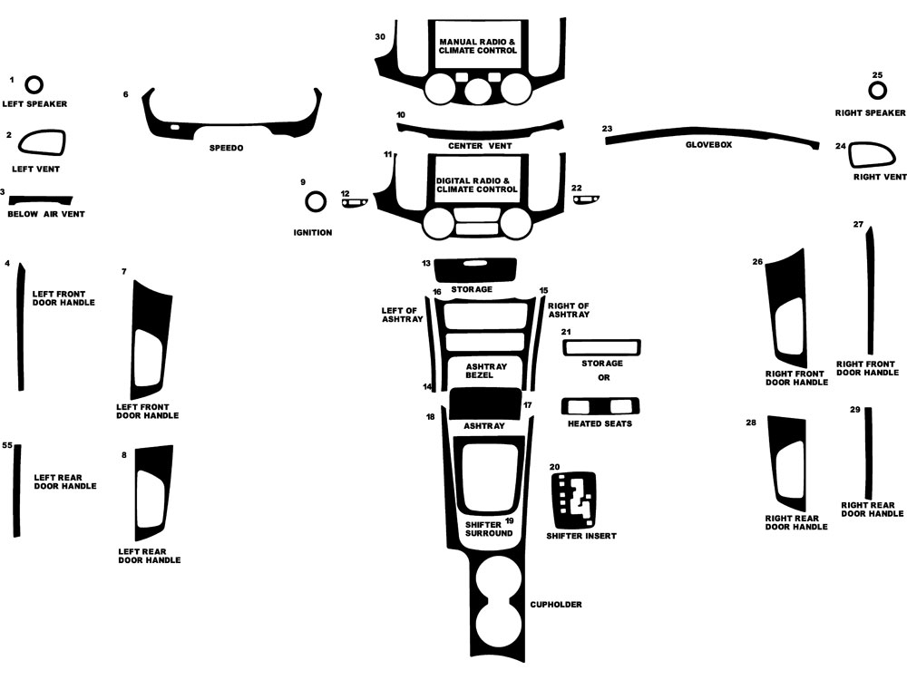 Kia Optima 2007-2008 Dash Kit Diagram